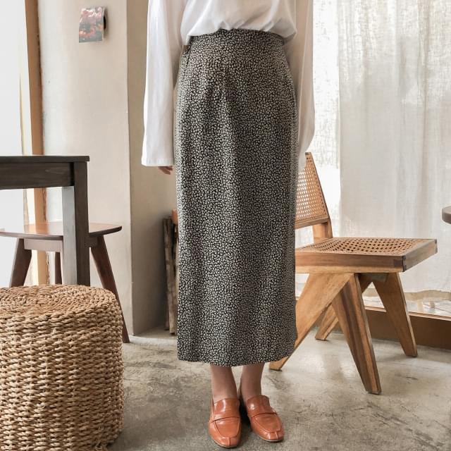 Leopard side split banding long skirt