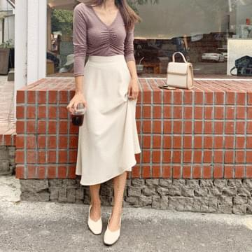 Lina Shirring long-sleeved T-shirt