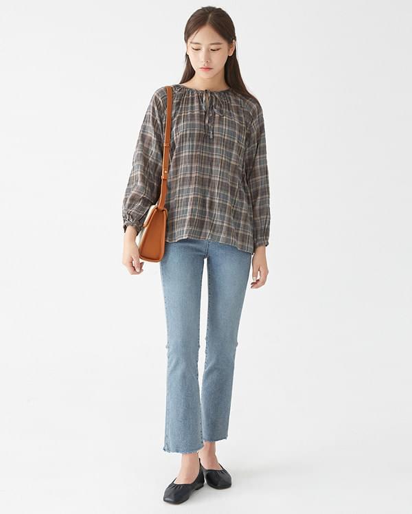 lsis check shiring blouse