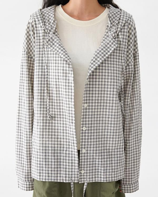 buket check hood blouse