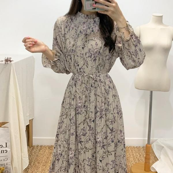 Fleet flower pleated long dress
