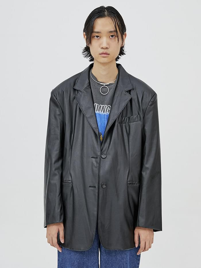 leather box jacket - men