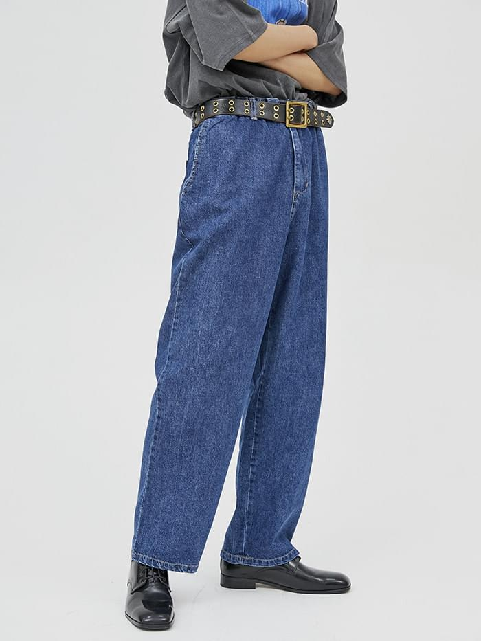 banding denim wide pants (3 color) - men