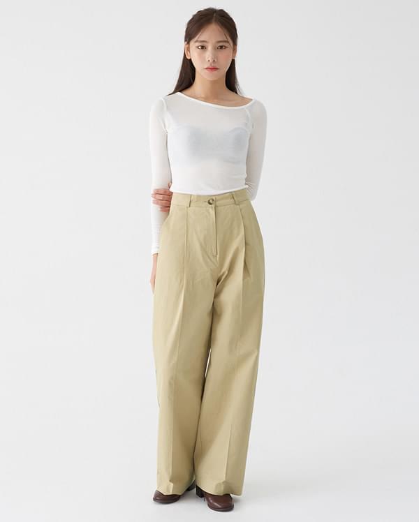 pocket long wide pants