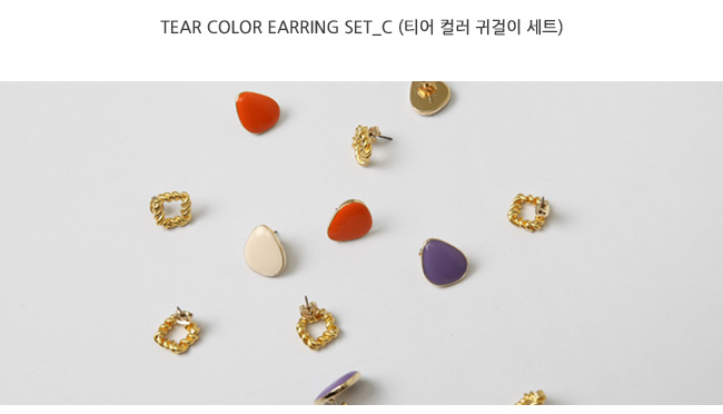 Tear color earring set_C