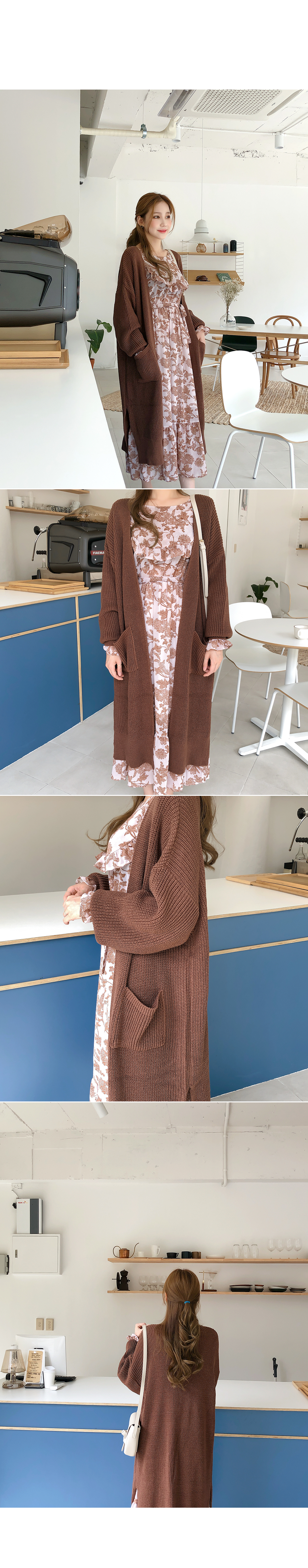Round overfit long cardigan