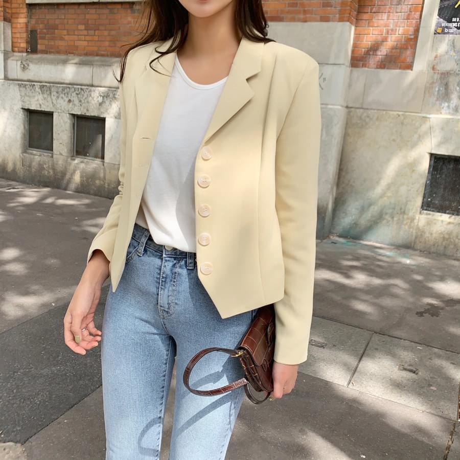 Cream cropped jacket
