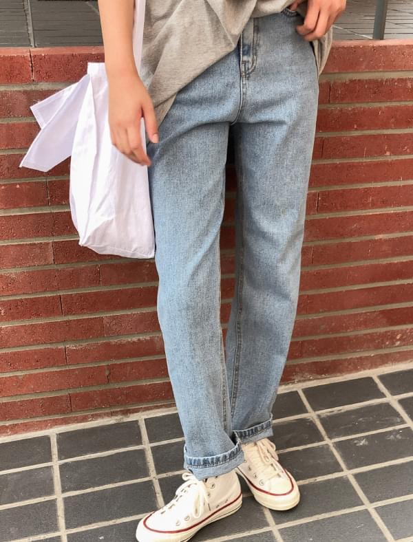 neat straight fit denim pants