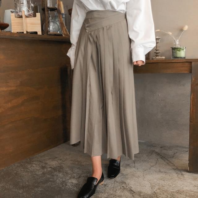 unbalance pleats long wrap skirt