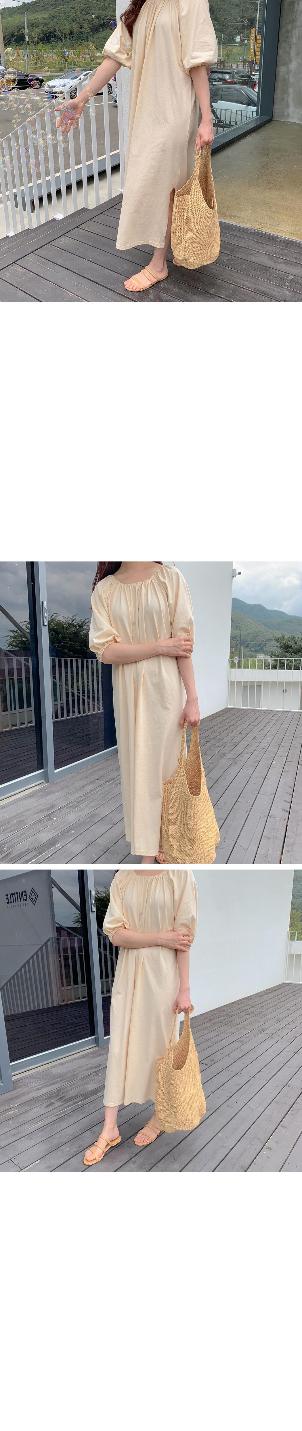 Off Shirring Long Dress