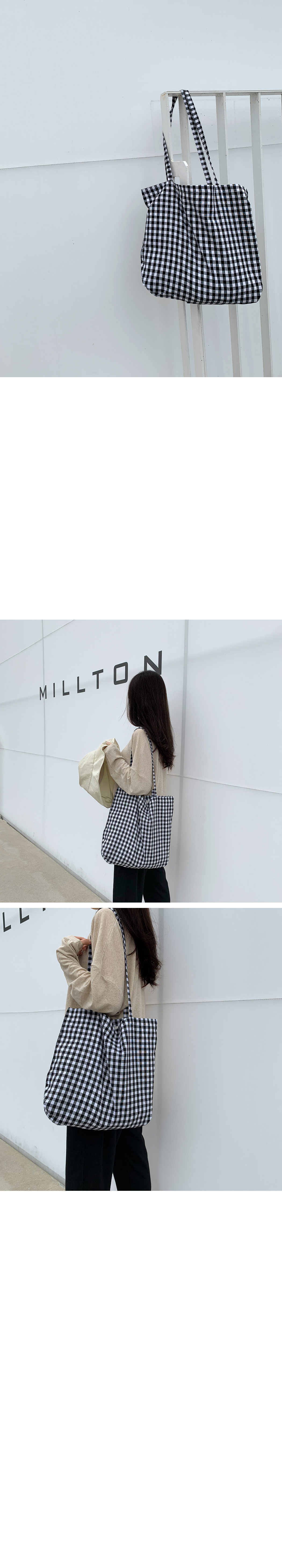 Pastel check Big eco bag