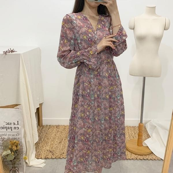 Rita Flower Chiffon Long Dress