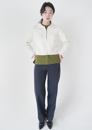 full crop knit zip-up