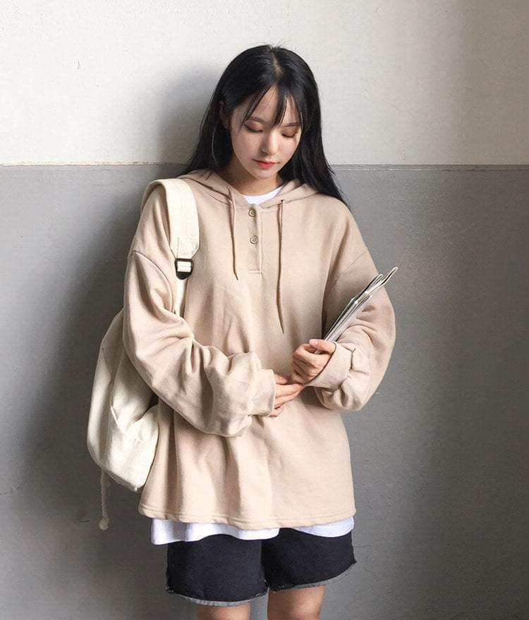Coco Button Hooded T-shirt