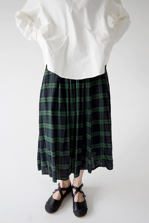 gingham check crease skirts (green)