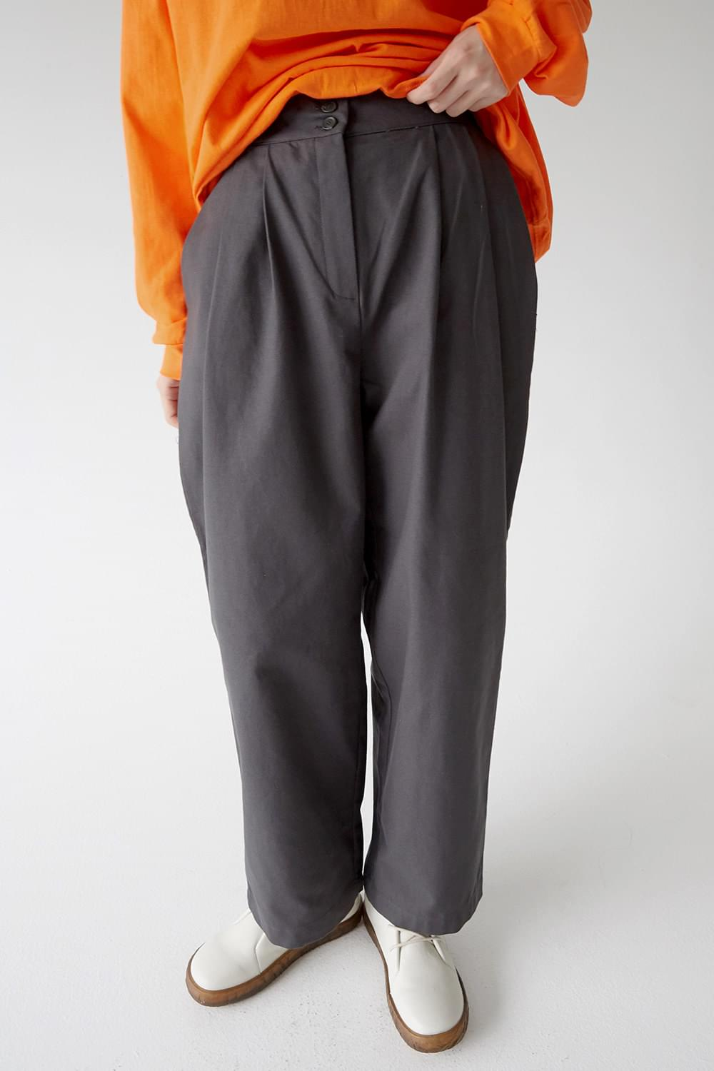 pintuck detail cotton wide pants (3colors)