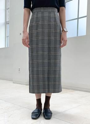 Check trim long skirt