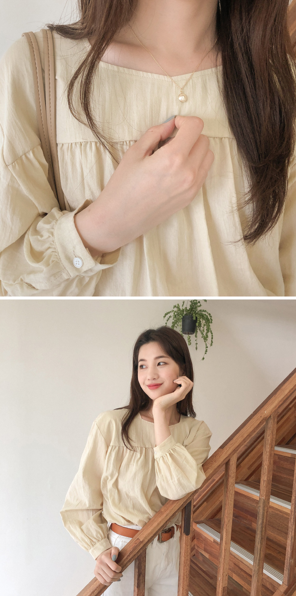 girlish mood shirring blouse