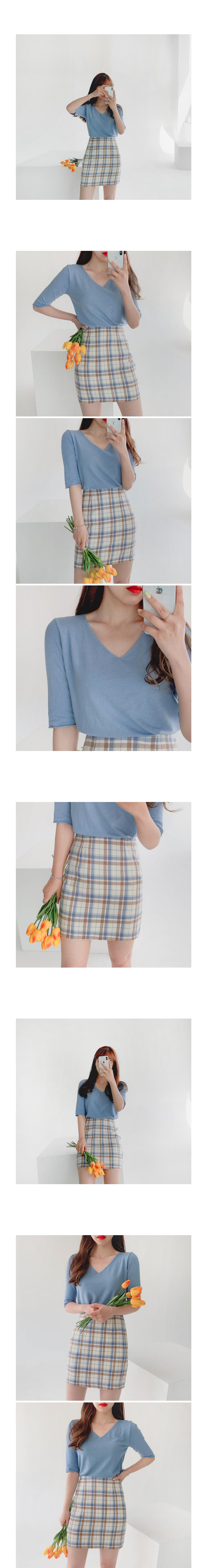Hilo check mini skirt