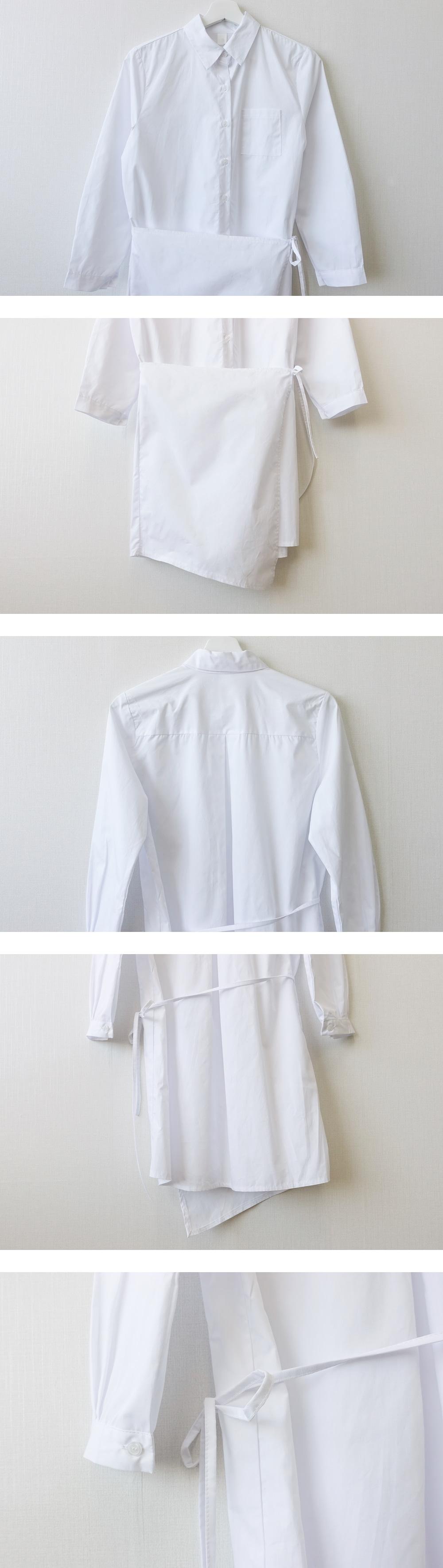 Plain Shirt Wrap Mini Dress