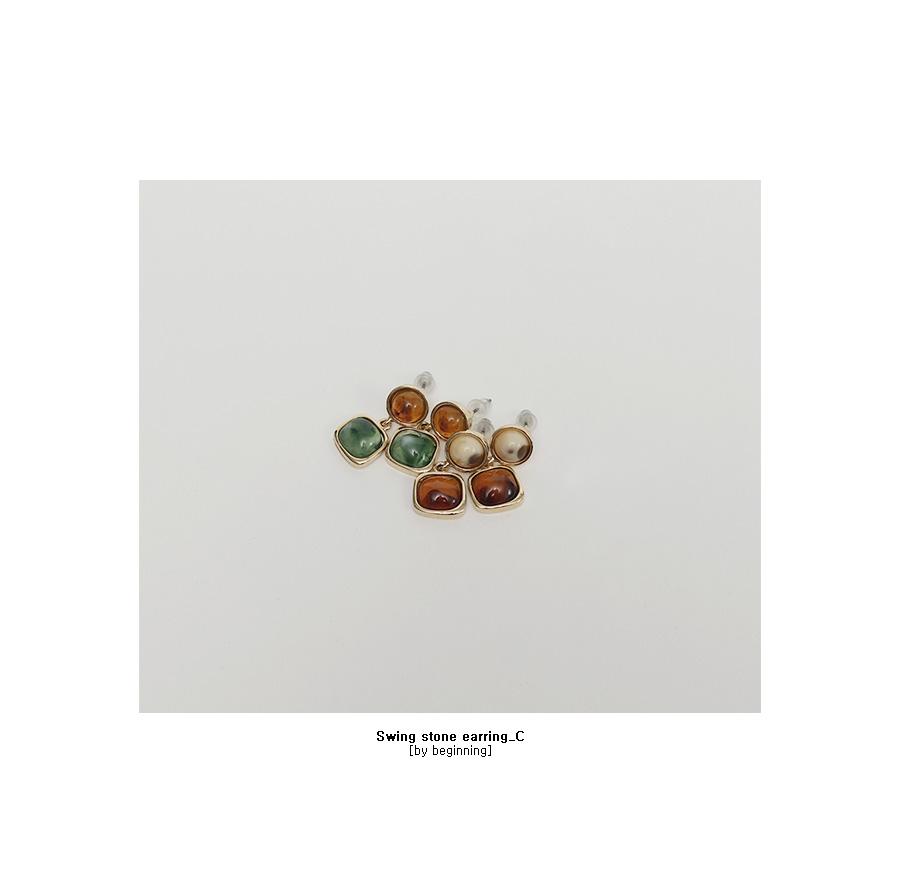 Swing stone earring_C