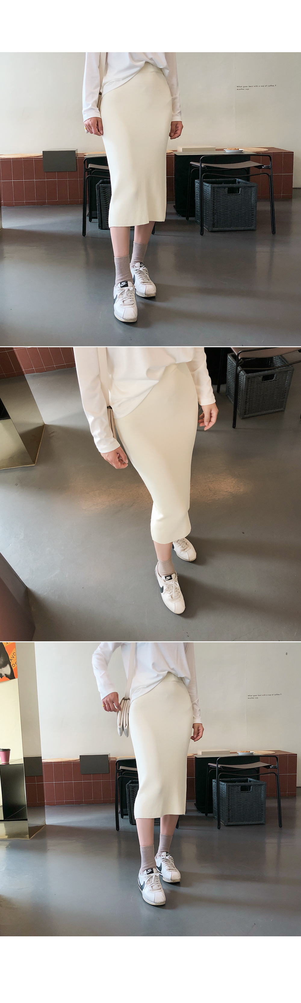 Back knit skirt