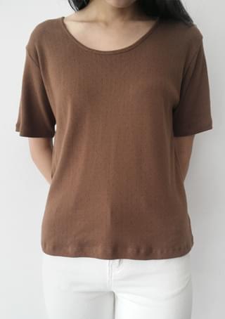 U-neck punching half knit top