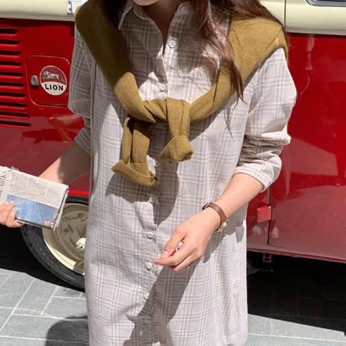 Vanilla Check Long Shirt Dress