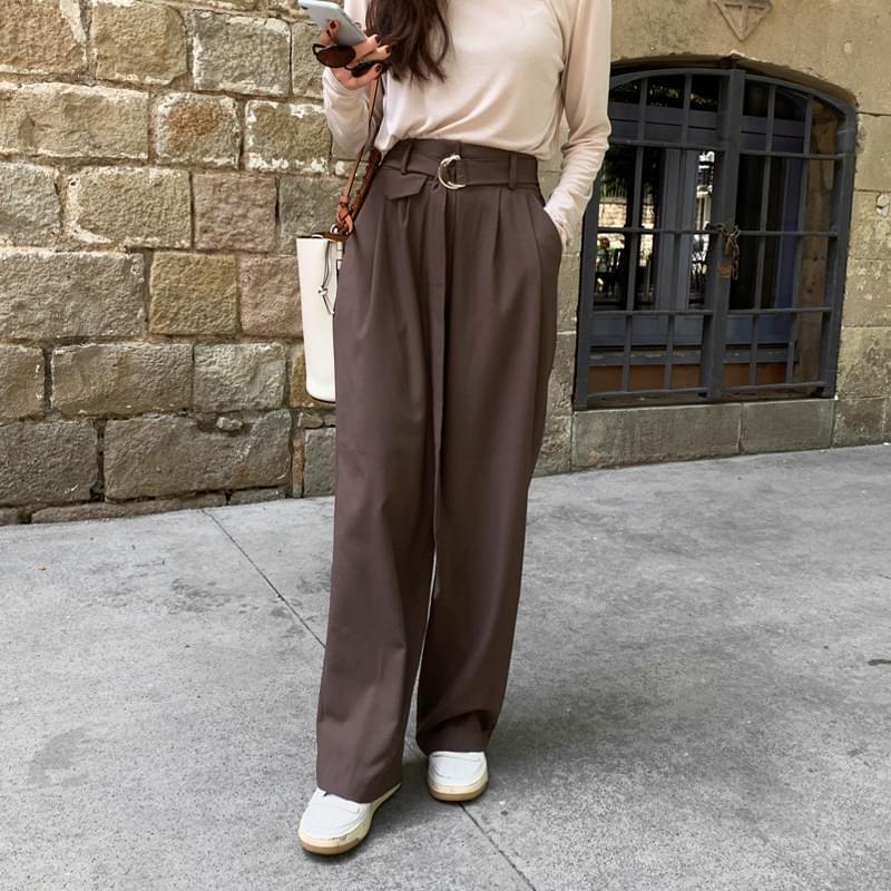 Huckle belt pocket pants brown