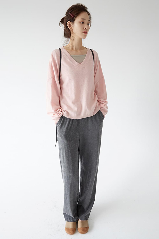 v neck wool knit (4colors)