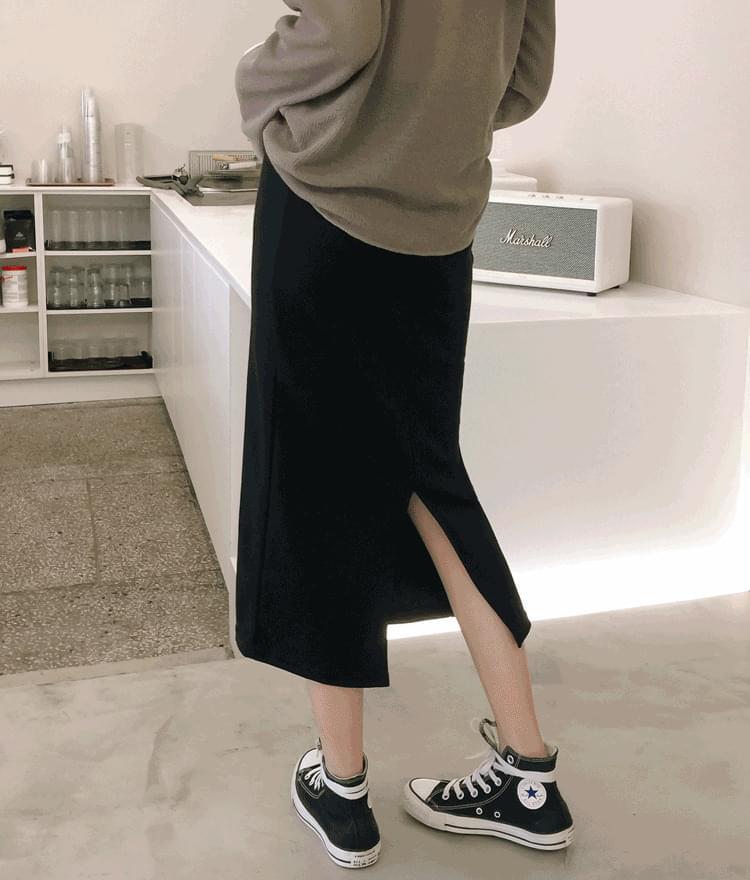 ESSAYBack Slit Elastic Waist Skirt