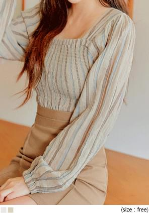 KLOND STRIPE SMOKE PUFF BLOUSE