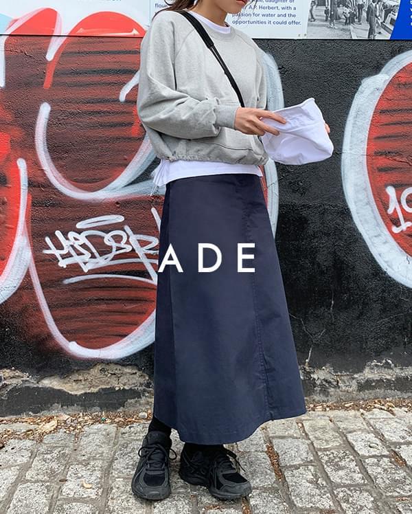 cotton long A-line skirt