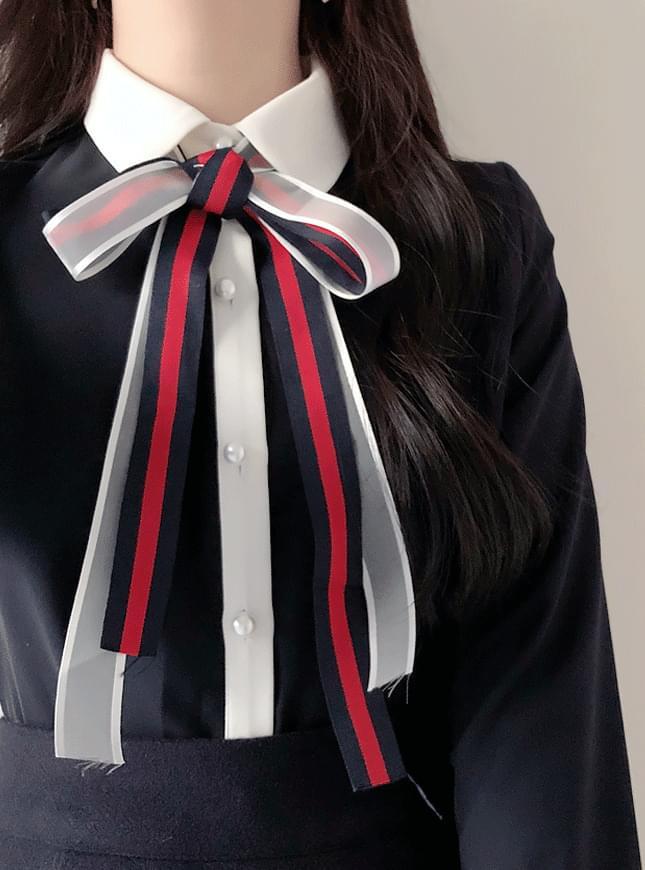 신상할인♥샤샤 배색리본blouse(아이,네이비)