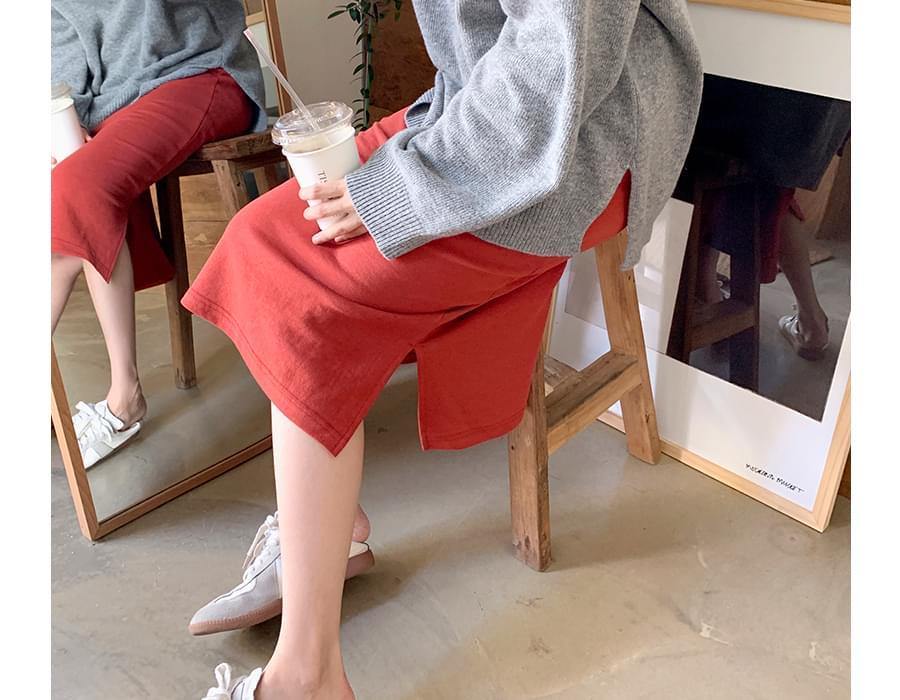 Mirrow tencel banding skirt_C