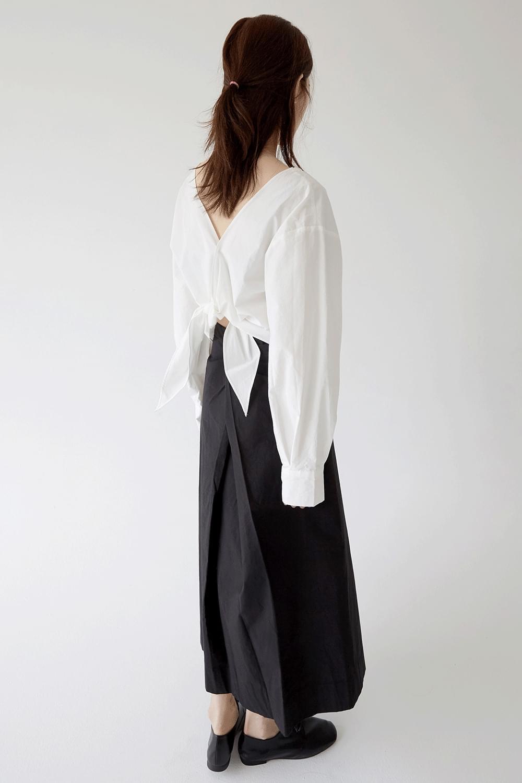 unbalance wrap detail skirts (black)
