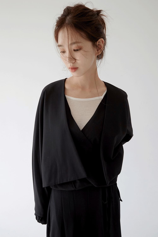 non button shorts jacket (black)