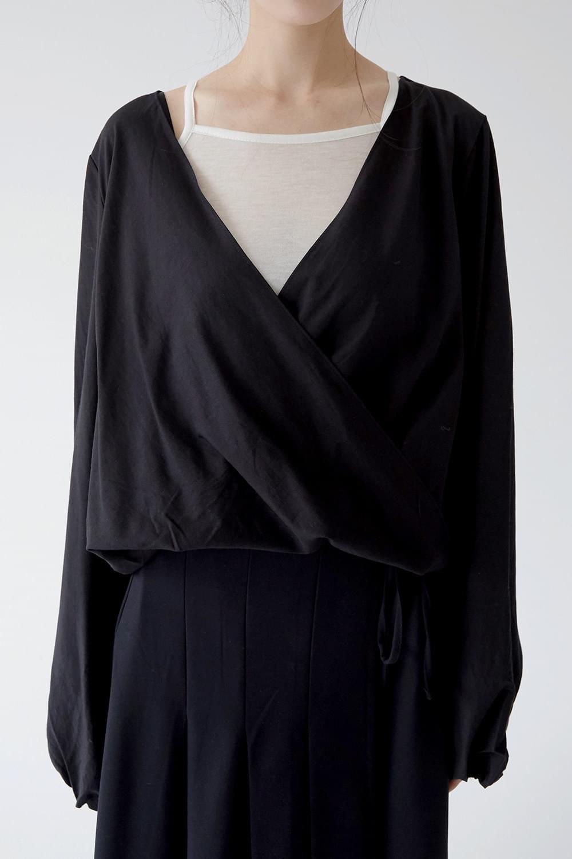 wrap string crop blouse (3colors)