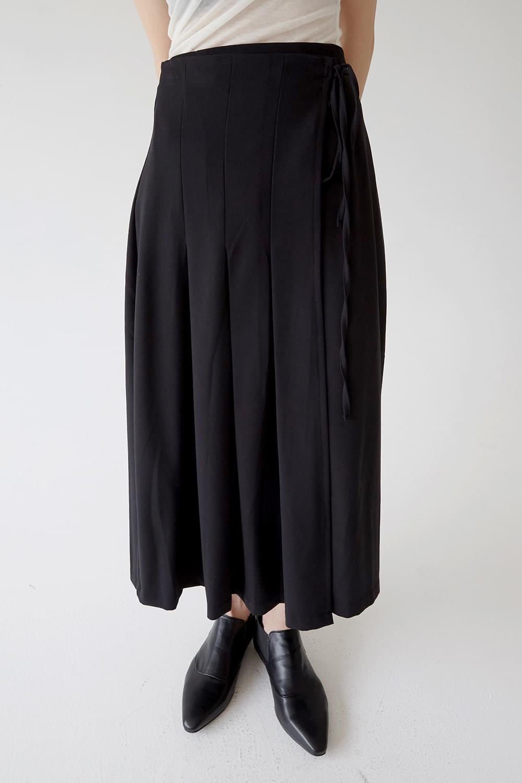 wrap nature pleats long skirts (3colors)