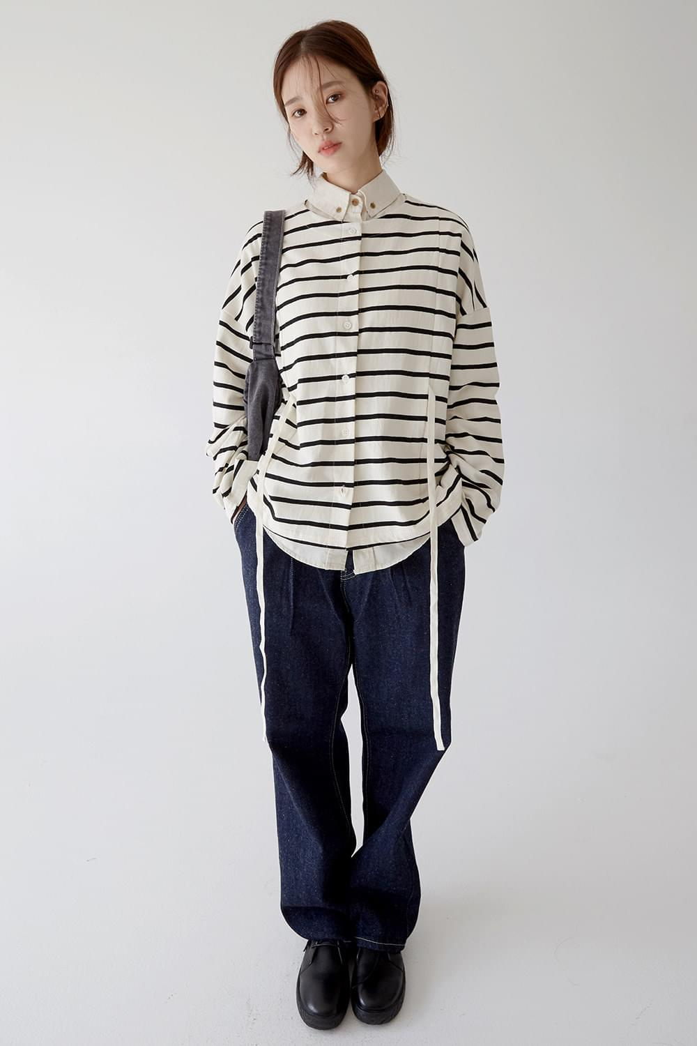 non collar stripe cardigan