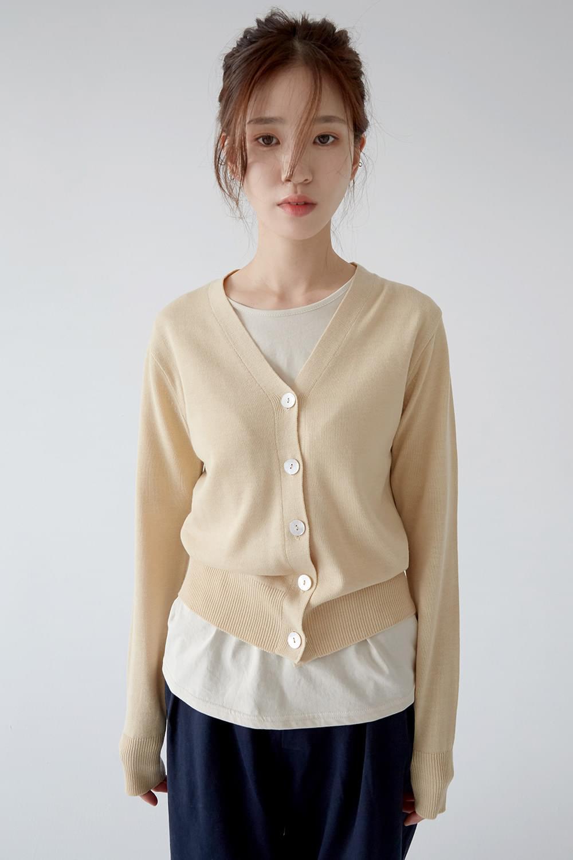 soft button cardigan (4colors)