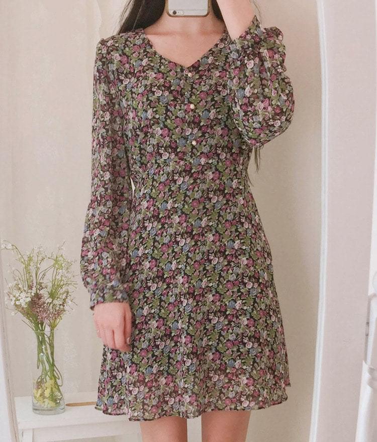 Floral mini button dress