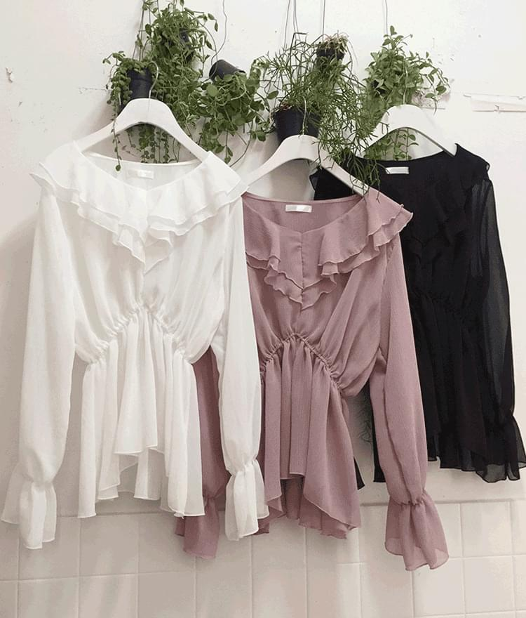 Cancan frill banding blouse