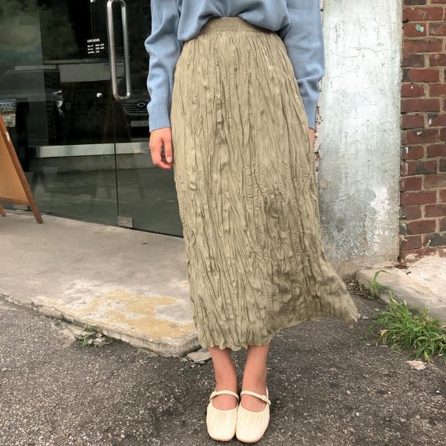 h-line wrinkle long skirt