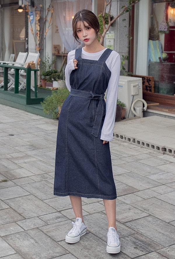 Stitched denim long dress