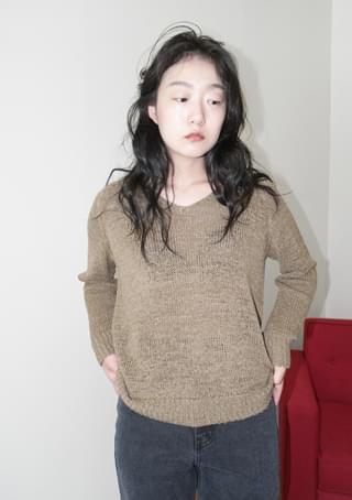 net V-neck knit
