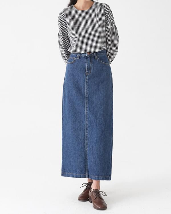 lounge denim long skirt (s, m, l)