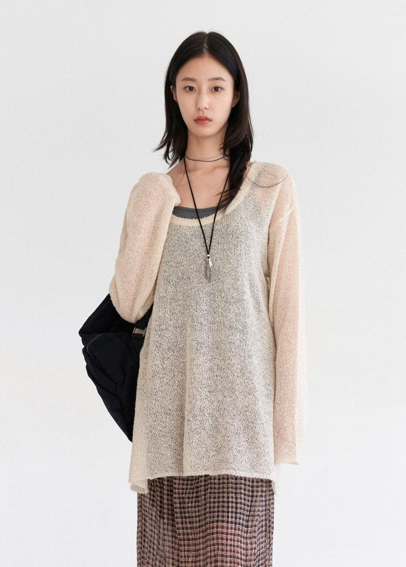 Unit neck see-through knit