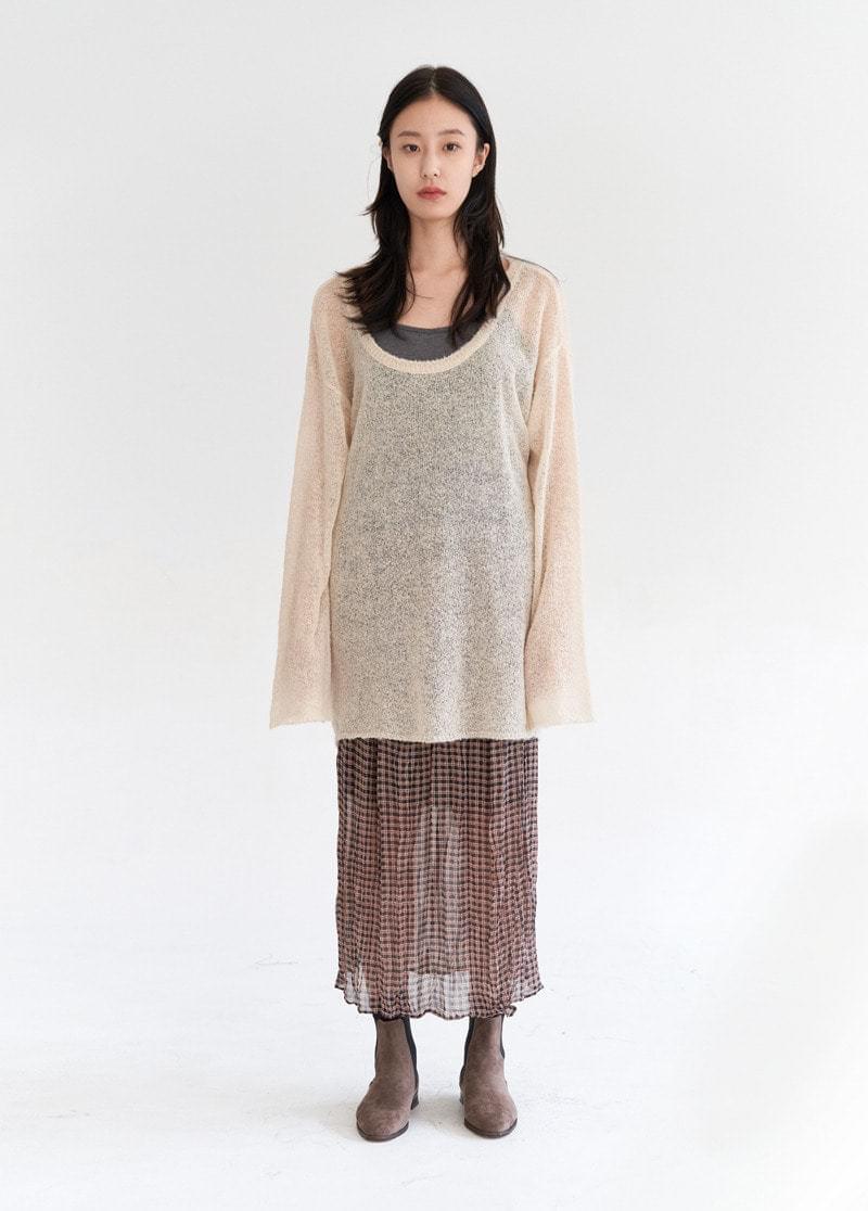 Check shirred skirt