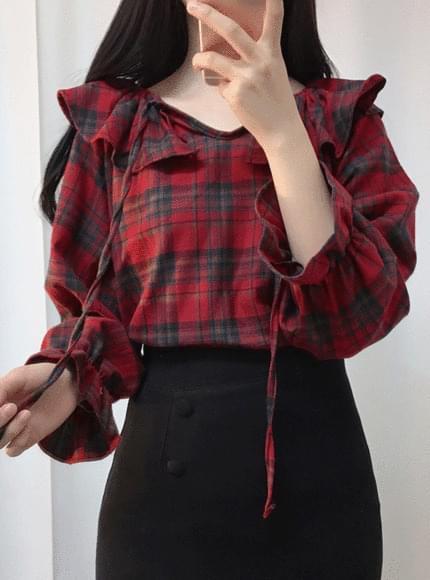 Check out ♥ Check shoulder ribbon blouse